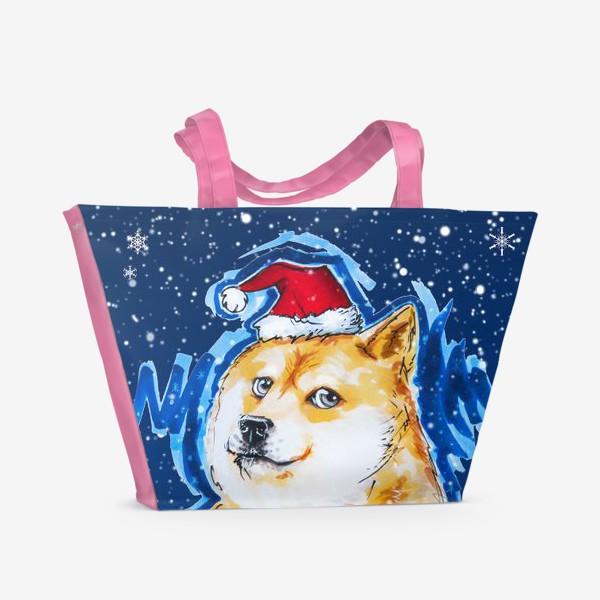 Пляжная сумка «Собака в снегу»