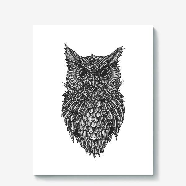 Холст «Чёрно белая сова»