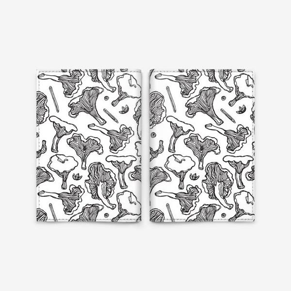 Обложка для паспорта «Черно-белые грибы. Лисички и специи»