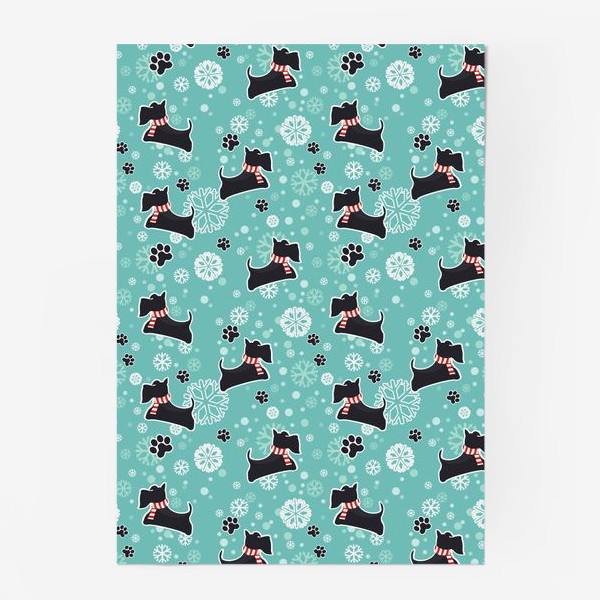 Постер «Зимнийий паттерн Собаки Шотландские скотч терьеры»