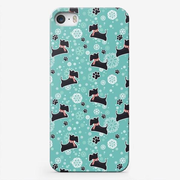 Чехол iPhone «Зимнийий паттерн Собаки Шотландские скотч терьеры»