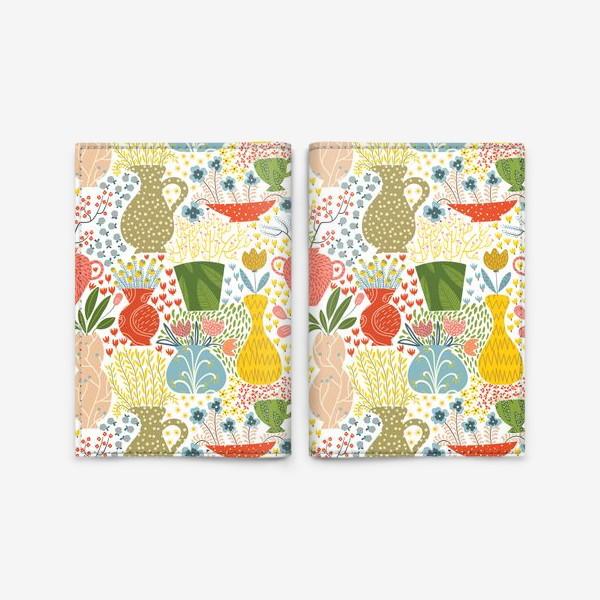 Обложка для паспорта «Цветы в вазах»