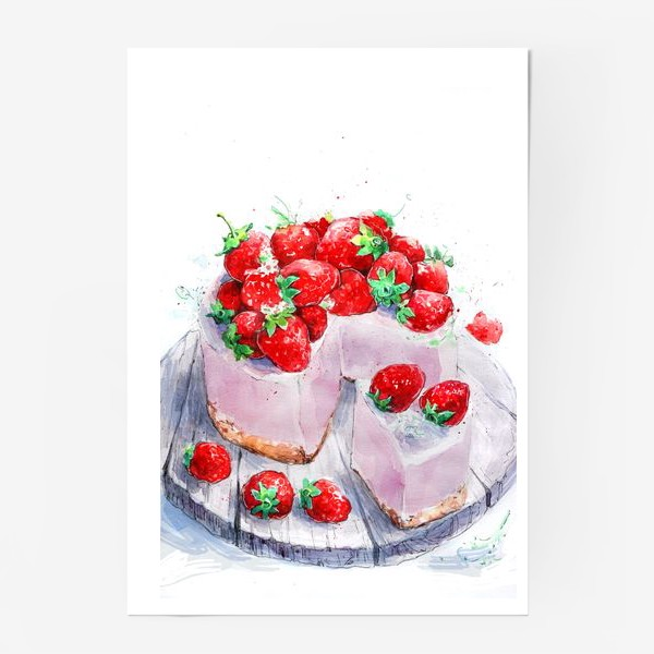 Постер «клубника. Торт. шебби-шик»