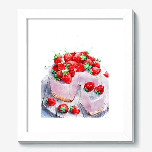 Картина «клубника. Торт. шебби-шик»