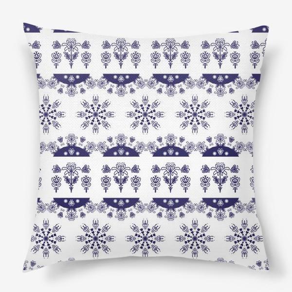 Подушка «Паттерн зима горизонтальный»