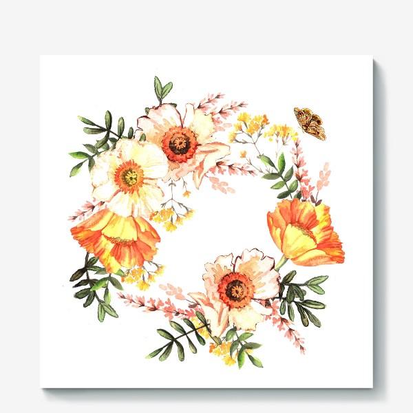 Холст «Венок с весенними цветами»