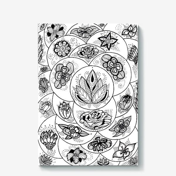 Холст «Цветы в черно-белом»