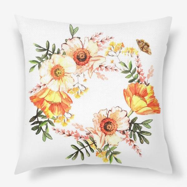 Подушка «Венок с весенними цветами»