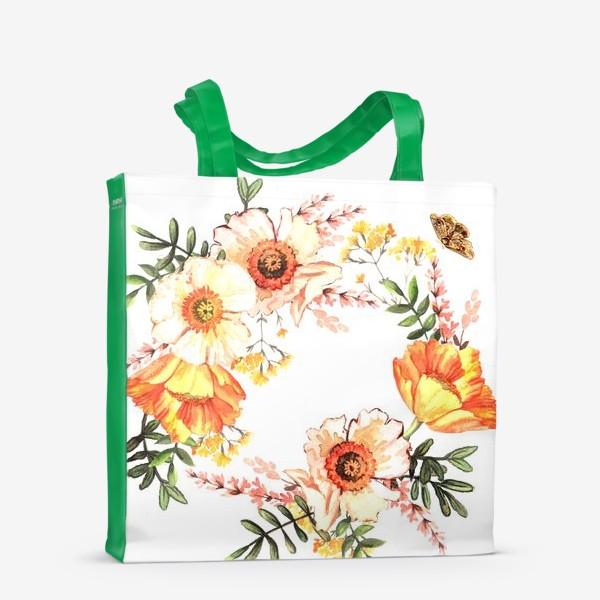 Сумка-шоппер «Венок с весенними цветами»