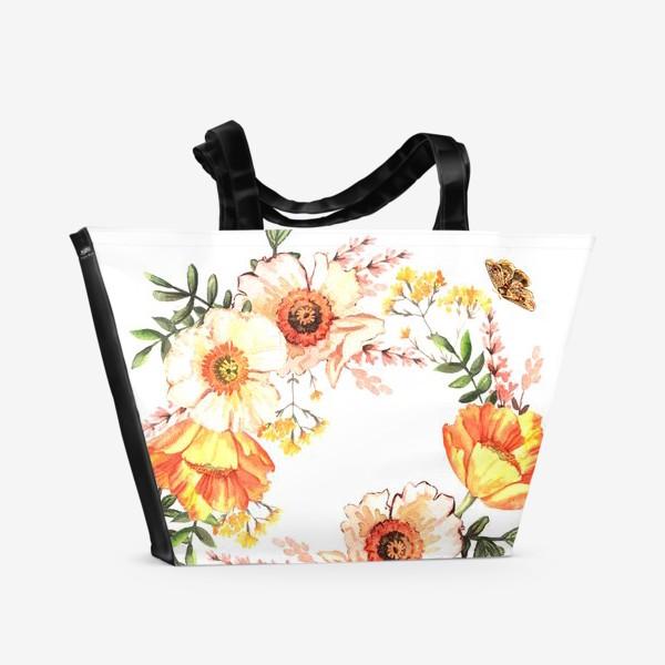 Пляжная сумка «Венок с весенними цветами»