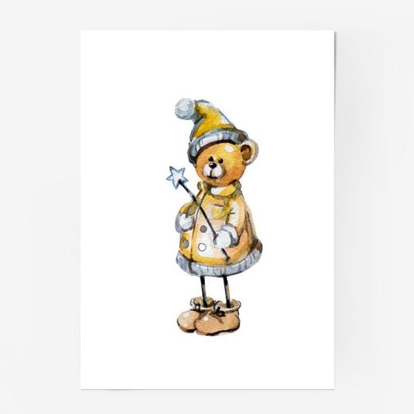 Постер «Новогодний мишка волшебник»