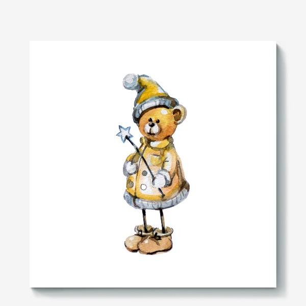 Холст «Новогодний мишка волшебник»
