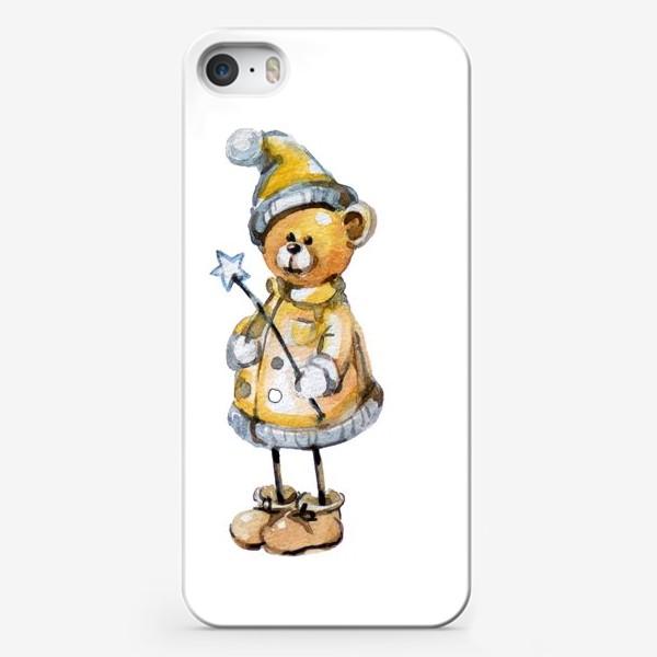 Чехол iPhone «Новогодний мишка волшебник»