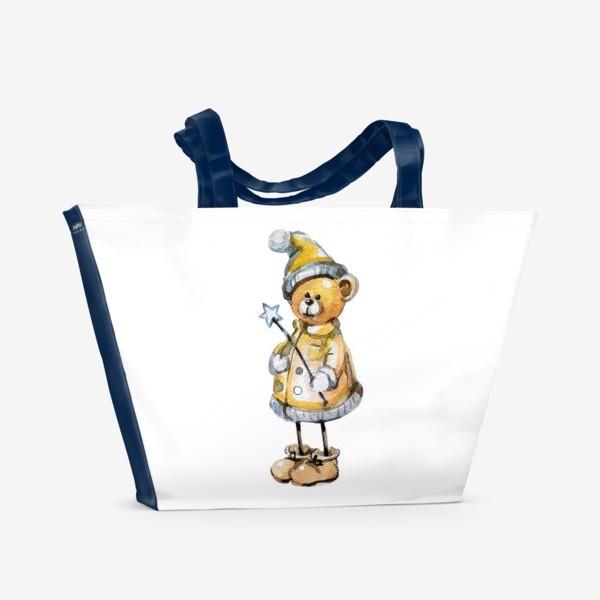 Пляжная сумка «Новогодний мишка волшебник»