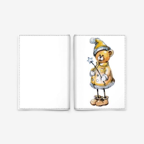 Обложка для паспорта «Новогодний мишка волшебник»