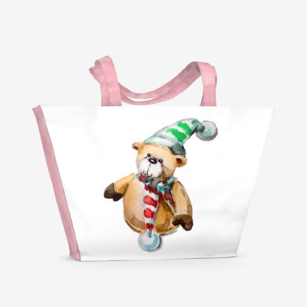 Пляжная сумка «Новогодний мишка»