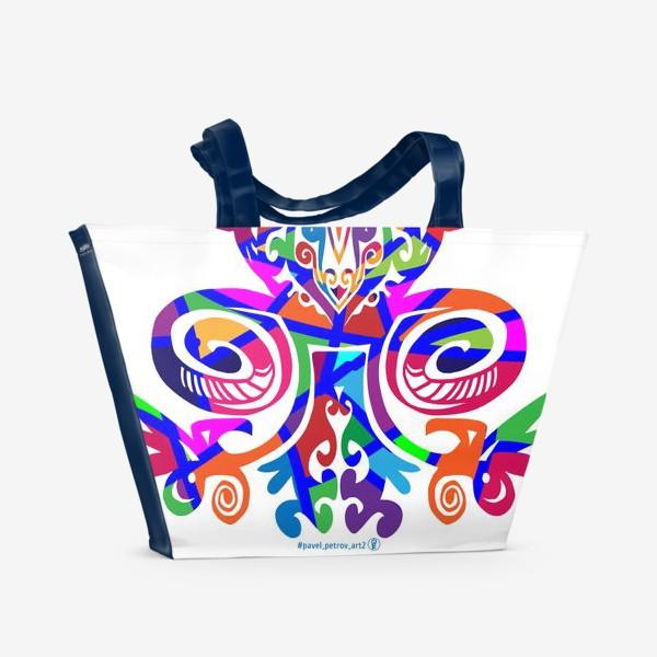Пляжная сумка «Цветной вензель»