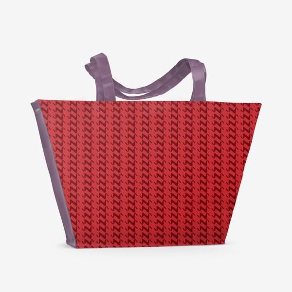 Пляжная сумка «Красный вязаный паттерн»