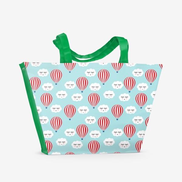 Пляжная сумка «Воздушные шары в облаках»