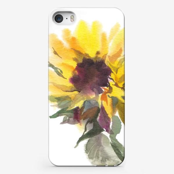 Чехол iPhone «Подсолнух акварельный»
