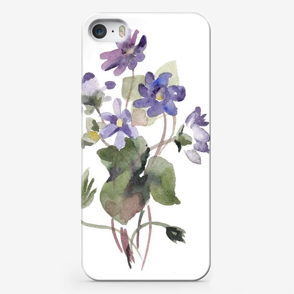 Чехол iPhone «Фиалки акварельные»
