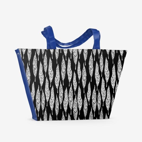 Пляжная сумка «White African Leaves»