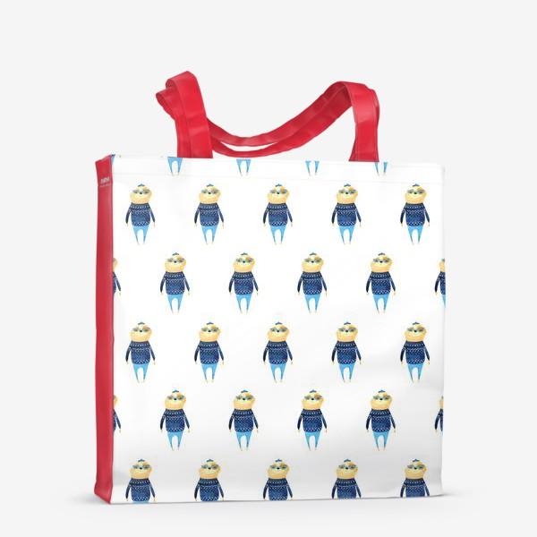 Сумка-шоппер «Ленивец в свитере паттерн»