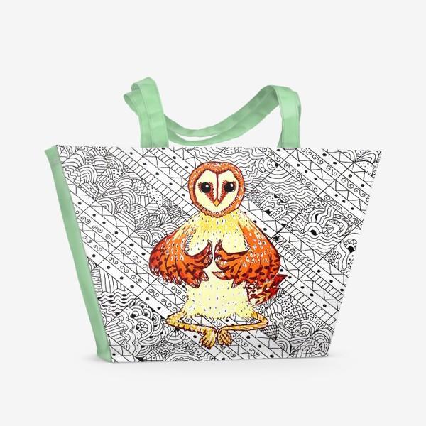 Пляжная сумка «Намасте сова»