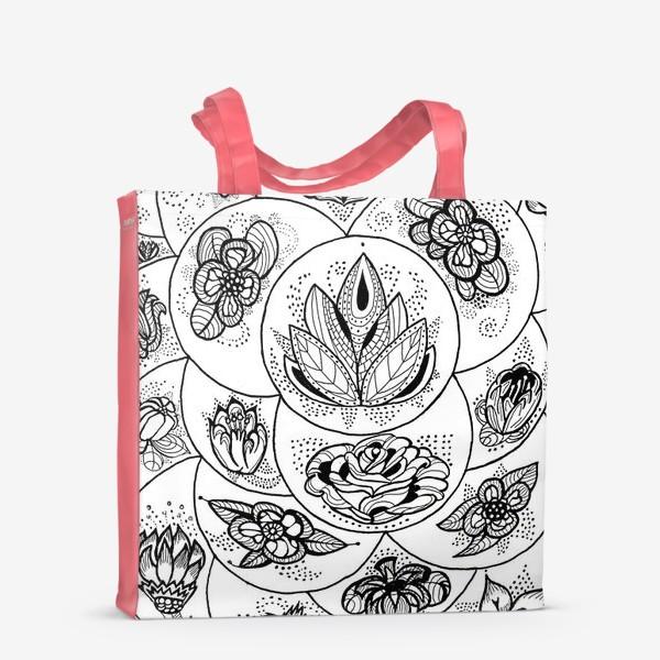 Сумка-шоппер «Цветы в черно-белом»