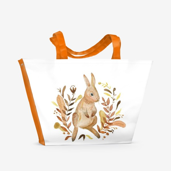 Пляжная сумка «Кролик осенью»