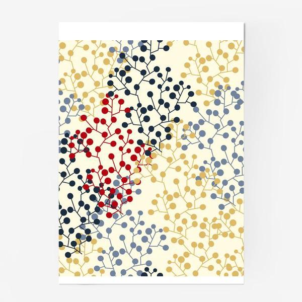 Постер «Паттерн с веточками в ретро цветах»