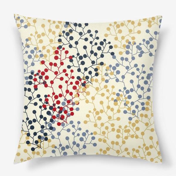 Подушка «Паттерн с веточками в ретро цветах»