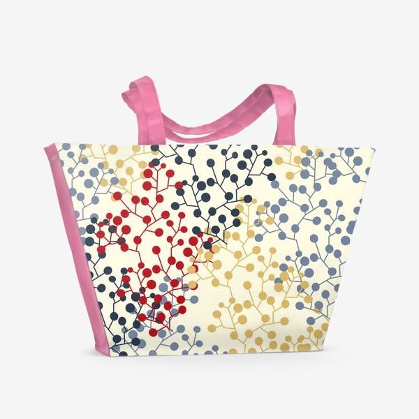 Пляжная сумка «Паттерн с веточками в ретро цветах»