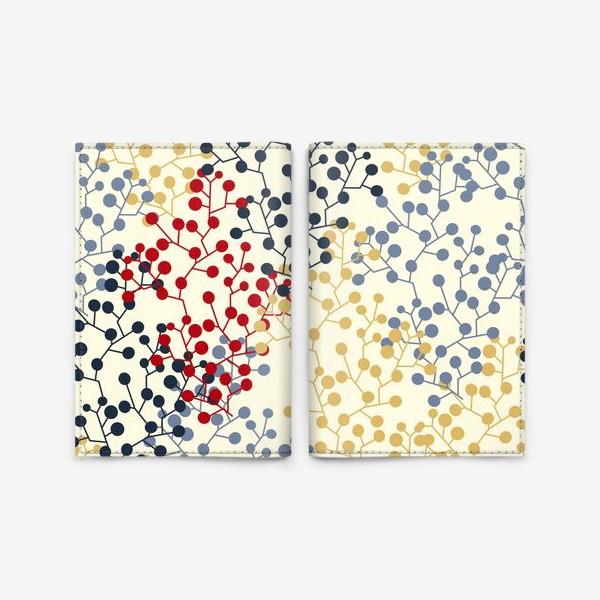 Обложка для паспорта «Паттерн с веточками в ретро цветах»