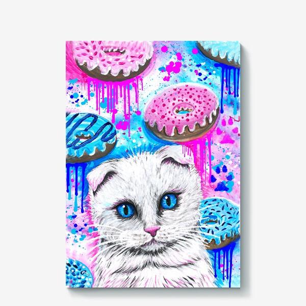 Холст «Кошка с пончиками »