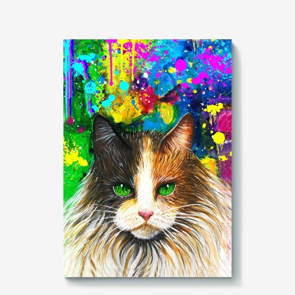 Холст «красочный кот »