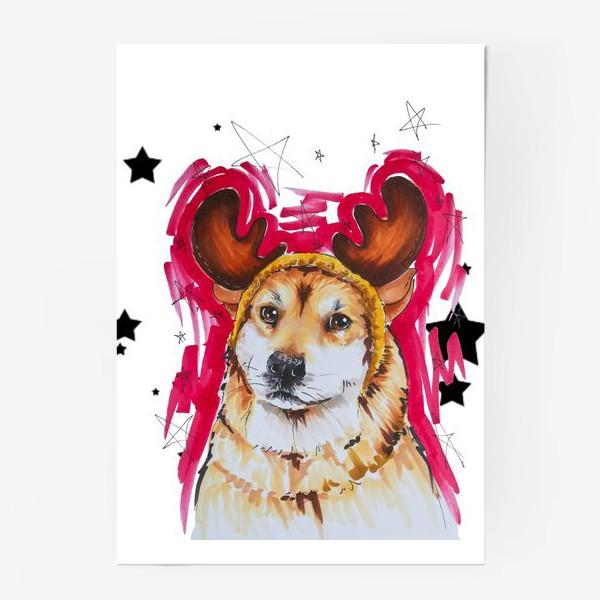 Постер «Новогодний рыжий пес»