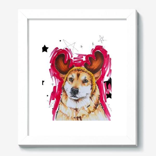 Картина «Новогодний рыжий пес»