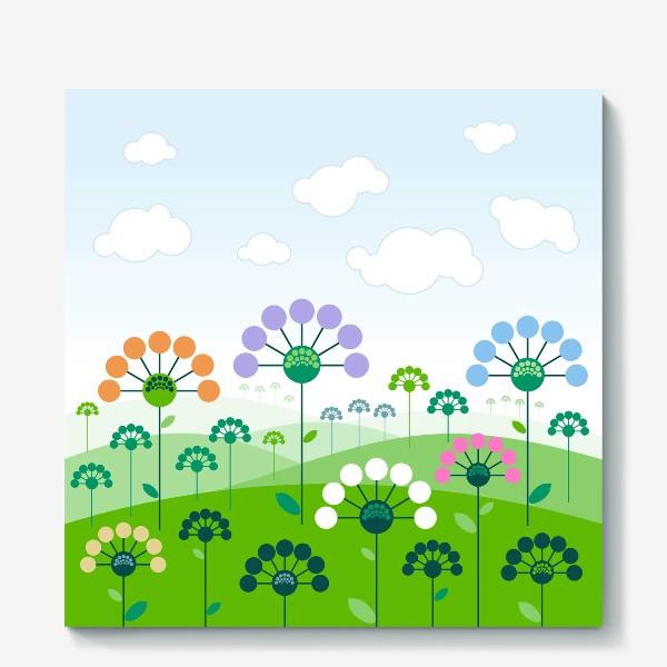 Холст «пейзаж с цветами»