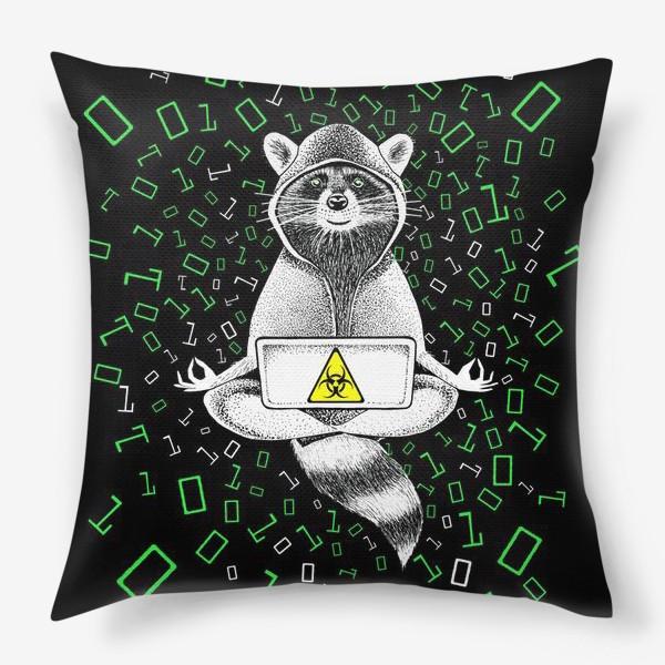Подушка «Енот-хакер»