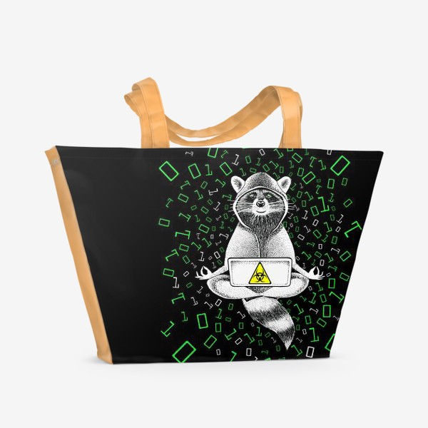 Пляжная сумка «Енот-хакер»