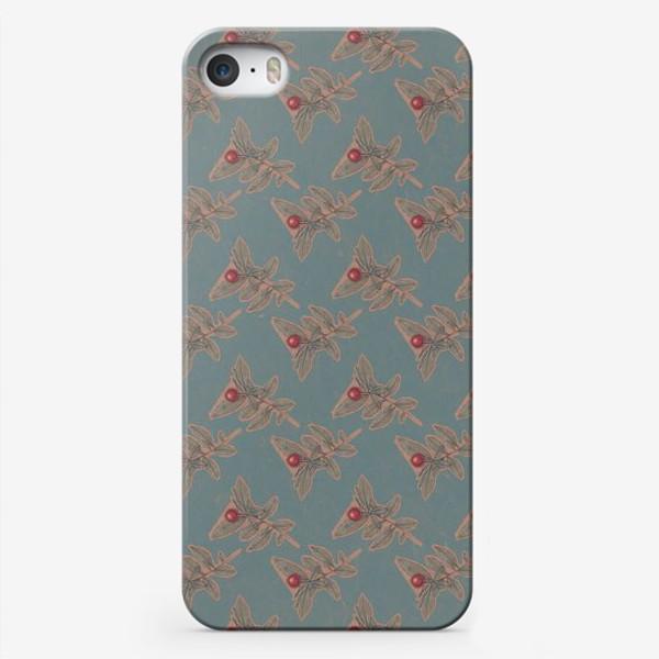 Чехол iPhone «Новогодний паттерн омела»