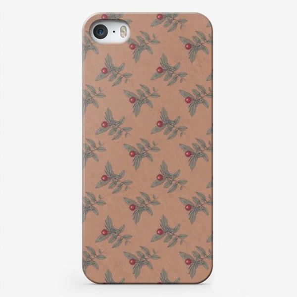 Чехол iPhone «Новогодний паттерн омела крафт»