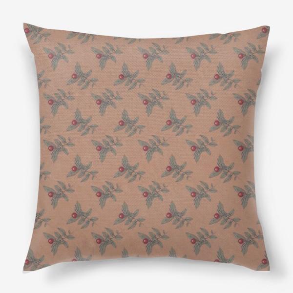 Подушка «Новогодний паттерн омела крафт»