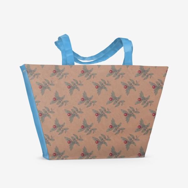 Пляжная сумка «Новогодний паттерн омела крафт»