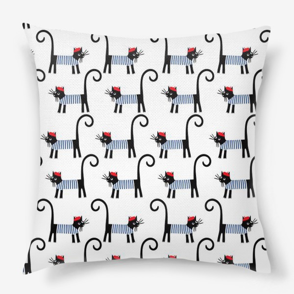 Подушка «паттерн французский кот»
