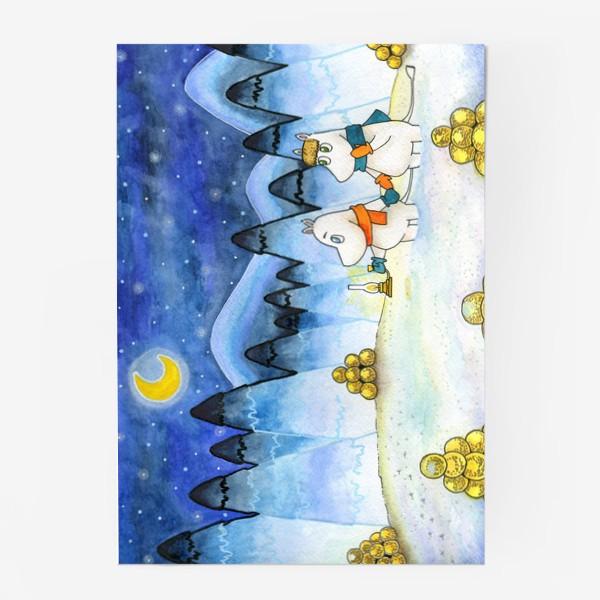 Постер «Муми-Тролли в заснеженном лесу»