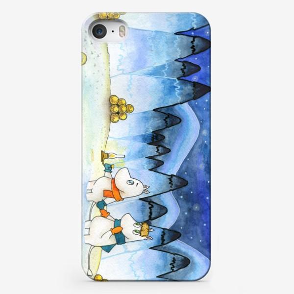Чехол iPhone «Муми-Тролли в заснеженном лесу»