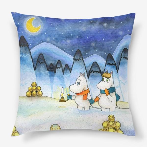 Подушка «Муми-Тролли в заснеженном лесу»
