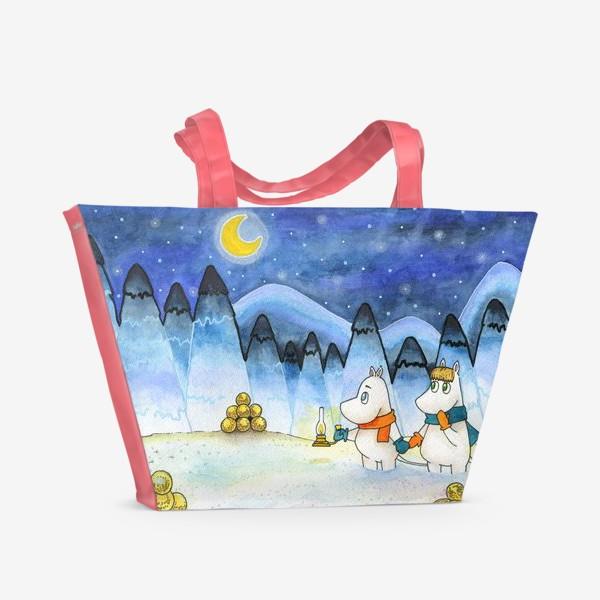 Пляжная сумка «Муми-Тролли в заснеженном лесу»